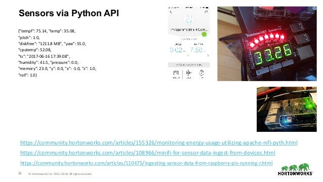 "26 © Hortonworks Inc. 2011–2018. All rights reserved. Sensors via Python API {""tempf"": 75.14, ""temp"": 35.08, ""pitch"": 1.0,..."
