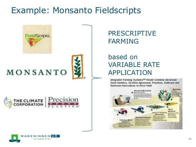 Example: Monsanto Fieldscripts 11 PRESCRIPTIVE FARMING based on VARIABLE RATE APPLICATION