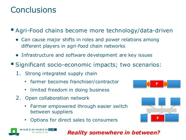 Conclusions  Agri-Food chains become more technology/data-driven ● Can cause major shifts in roles and power relations am...