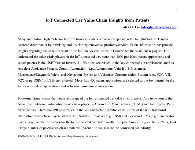 Iot Connected Car Value Chain Insights From Patents