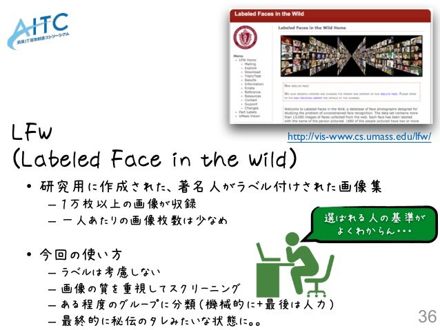 LFW (Labeled Face in the Wild) http://vis-www.cs.umass.edu/lfw/ • 研究用に作成された、著名人がラベル付けされた画像集 – 1万枚以上の画像が収録 – 一人あたりの画像枚数は少なめ...