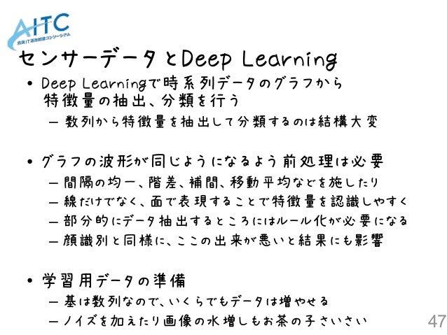 センサーデータとDeep Learning 47 • Deep Learningで時系列データのグラフから 特徴量の抽出、分類を行う – 数列から特徴量を抽出して分類するのは結構大変 • グラフの波形が同じようになるよう前処理は必要 – 間隔...