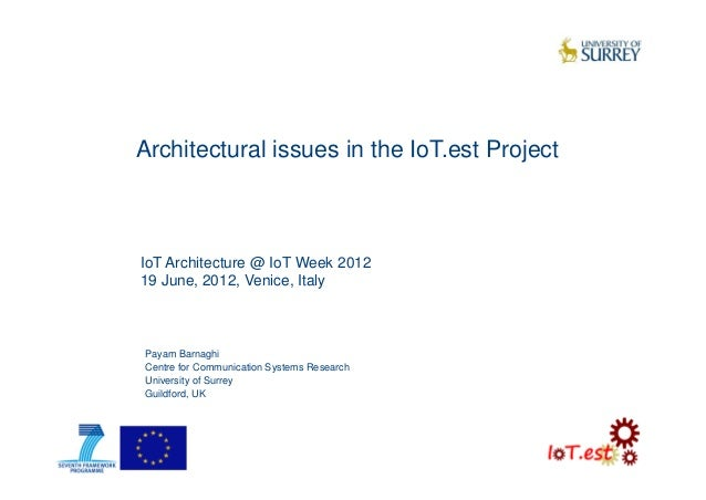 Architectural issues in the IoT.est ProjectPayam BarnaghiCentre for Communication Systems ResearchUniversity of SurreyGuil...
