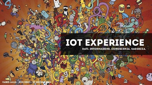 IOT Experience Fabio Lalli - CEO IQUII - 19 GIUGNO 2014 Dati. informazioni. conoscenza. saggezza.