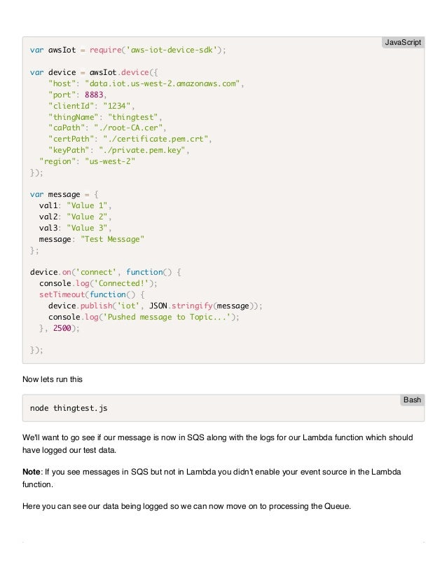 AWS IoT 핸즈온 워크샵 - 실습 2  SNS 연동과 Lambda로 메시지 처리하기