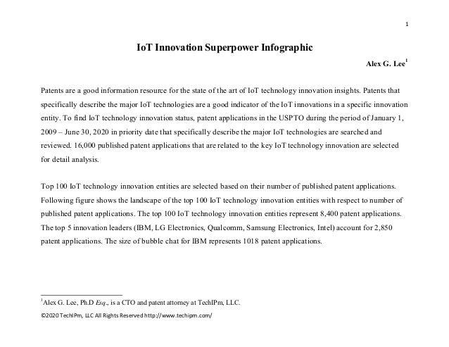 1  ©2020TechIPm,LLCAllRightsReservedhttp://www.techipm.com/  IoT Innovation Superpower Infographic Alex G. Lee1 ...