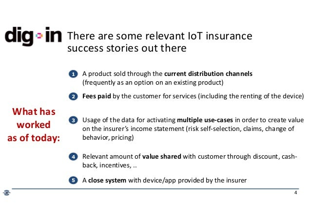 4 There are some relevant IoT insurance success stories out there What has worked as of today: 1 A product sold through th...