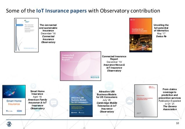 10 The connected and sustainable insurance December '16 Connected Insurance Observatory Unveiling the full potential of te...