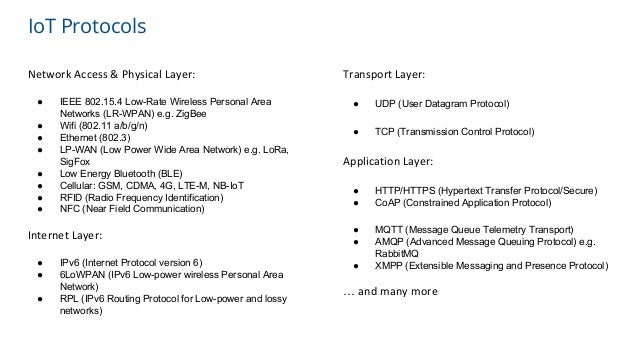 IoT Protocols Network Access & Physical Layer: ● IEEE 802.15.4 Low-Rate Wireless Personal Area Networks (LR-WPAN) e.g. Zig...