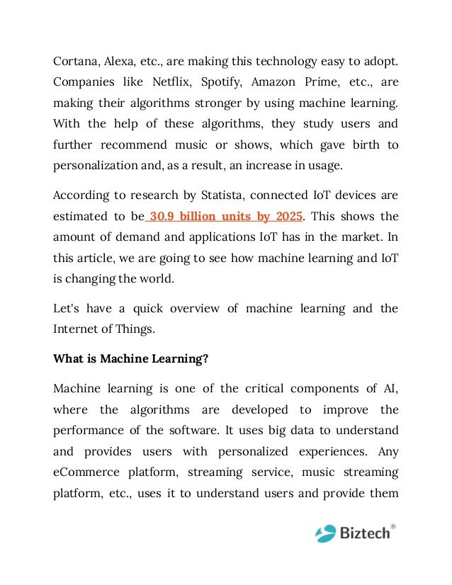 Io t + machine learning changing the paradigm of technology Slide 2