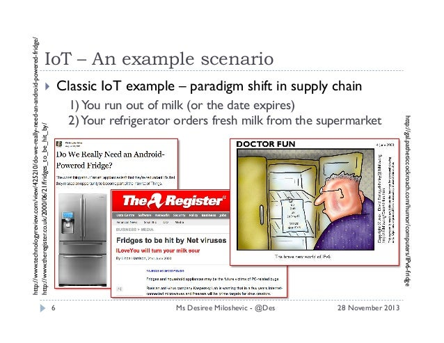 http://www.technologyreview.com/view/425210/do-we-really-need-an-android-powered-fridge/ http://www.theregister.co.uk/2000...