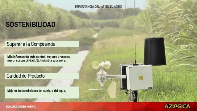 IMPORTANCIA DEL IoT EN EL AGRO SOLUCIONES AGRO SOSTENIBILIDAD Superar a la Competencia Calidad de Producto Mejorar las con...