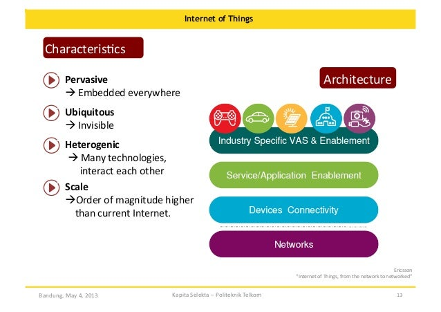 Internet of Things  CharacterisOcs   Pervasive       Embedded  everywhere    Architecture    Ubiquitous  ...