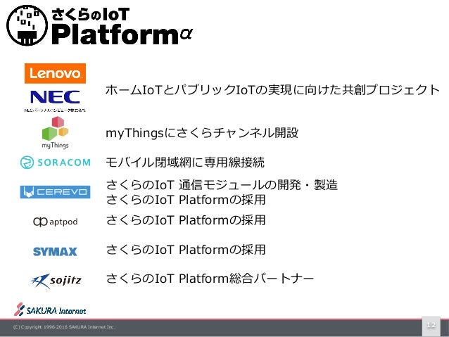(C) Copyright 1996-2016 SAKURA Internet Inc. 12 myThingsにさくらチャンネル開設 モバイル閉域網に専⽤線接続 さくらのIoT 通信モジュールの開発・製造 さくらのIoT Platformの採...