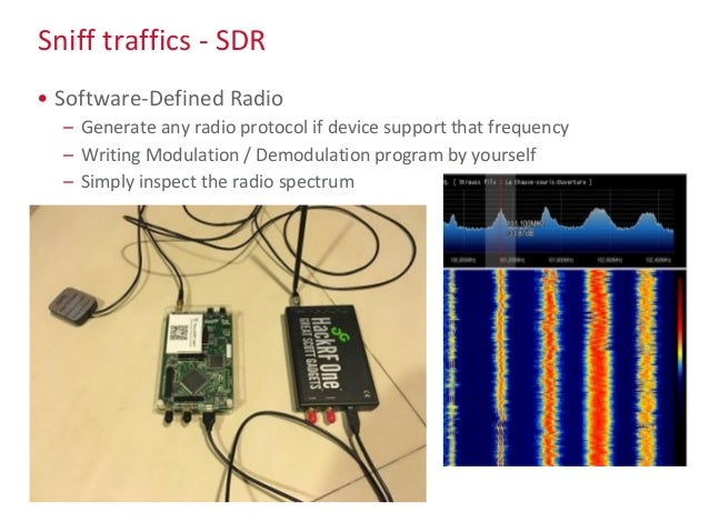 Sniff traffics - SDR • Software-Defined Radio – Generate any radio protocol if device support that frequency – Writing Mod...