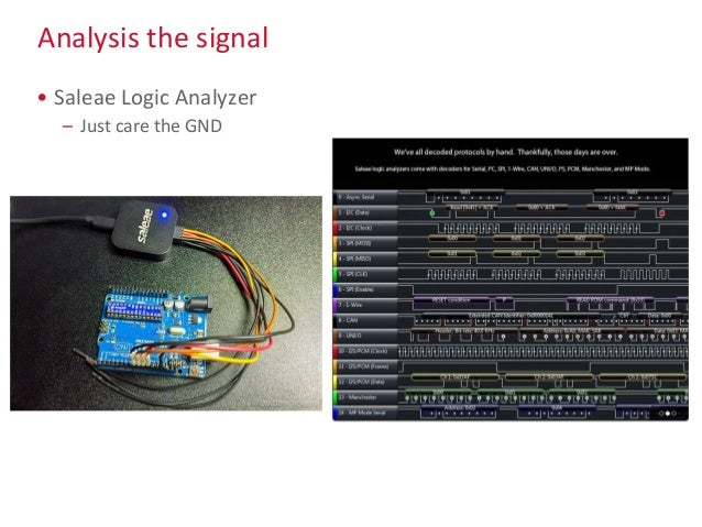 Analysis the signal • Saleae Logic Analyzer – Just care the GND