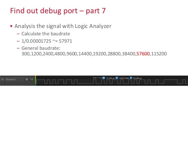 Find out debug port – part 7 • Analysis the signal with Logic Analyzer – Calculate the baudrate – 1/0.00001725 ~= 57971 – ...