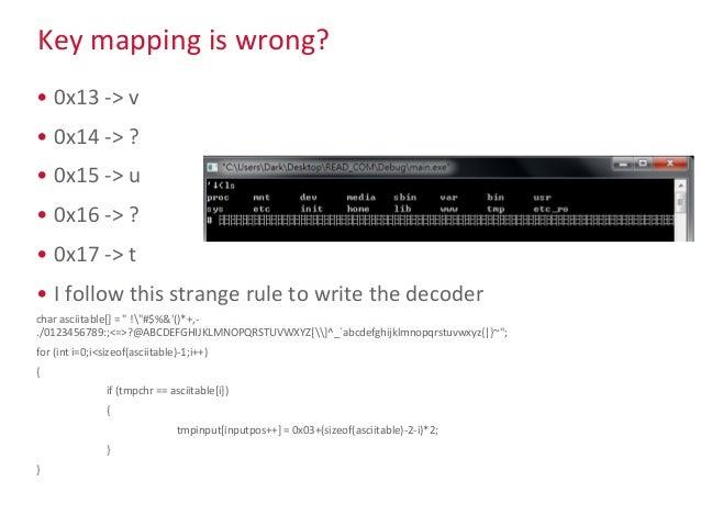 Key mapping is wrong? • 0x13 -> v • 0x14 -> ? • 0x15 -> u • 0x16 -> ? • 0x17 -> t • I follow this strange rule to write th...