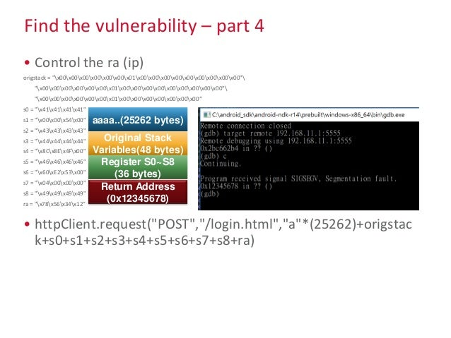 """Find the vulnerability – part 4 • Control the ra (ip) origstack = """"x00x00x00x00x00x00x01x00x00x00x00x00x00x00x00x00"""" """"x00x..."""
