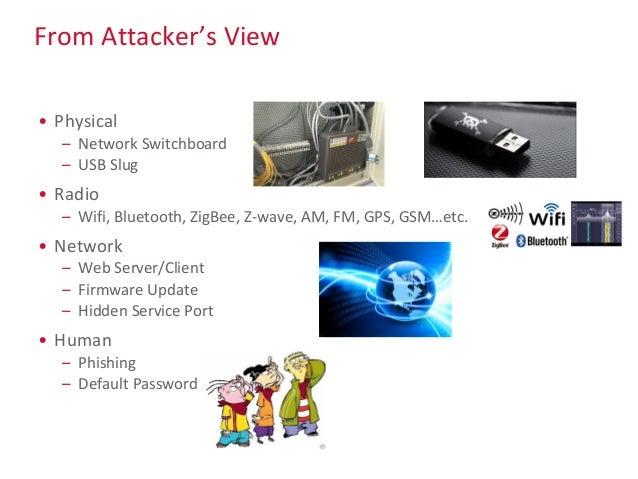 From Attacker's View • Physical – Network Switchboard – USB Slug • Radio – Wifi, Bluetooth, ZigBee, Z-wave, AM, FM, GPS, G...