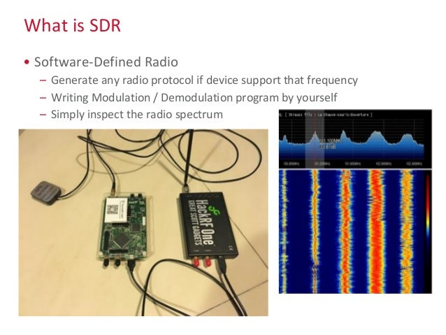 What is SDR • Software-Defined Radio – Generate any radio protocol if device support that frequency – Writing Modulation /...