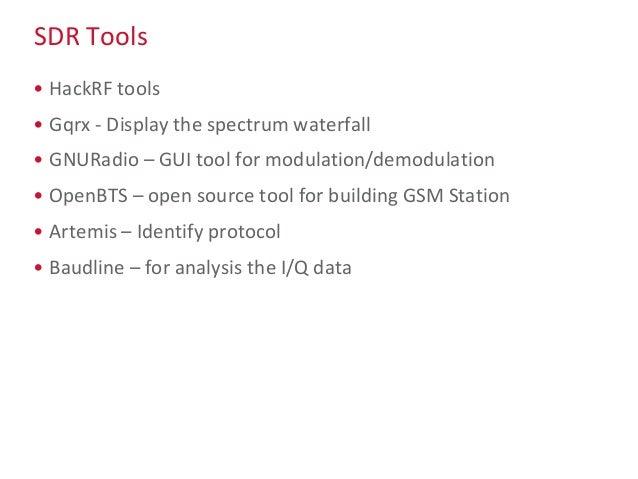 SDR Tools • HackRF tools • Gqrx - Display the spectrum waterfall • GNURadio – GUI tool for modulation/demodulation • OpenB...
