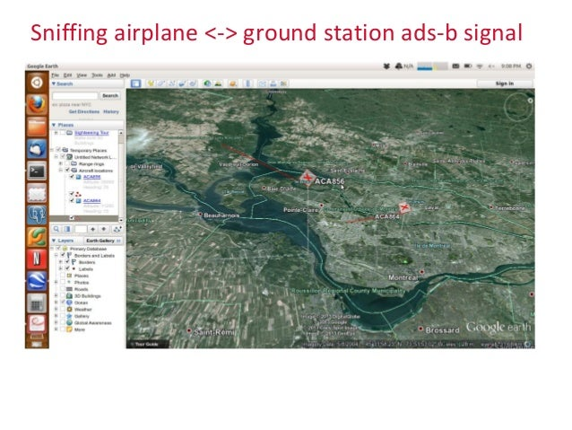 Sniffing airplane <-> ground station ads-b signal