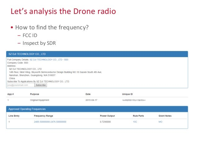Let's analysis the Drone radio • How to find the frequency? – FCC ID – Inspect by SDR