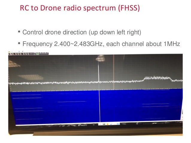 RC to Drone radio spectrum (FHSS) • Control drone direction (up down left right) • Frequency 2.400~2.483GHz, each channel ...