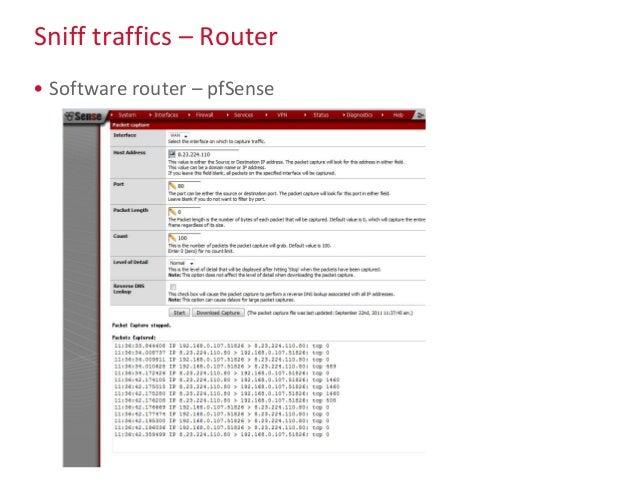Sniff traffics – Router • Software router – pfSense