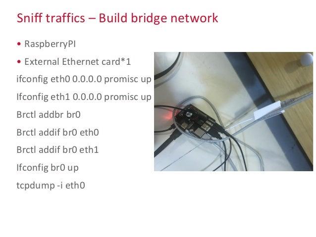 Sniff traffics – Build bridge network • RaspberryPI • External Ethernet card*1 ifconfig eth0 0.0.0.0 promisc up Ifconfig e...