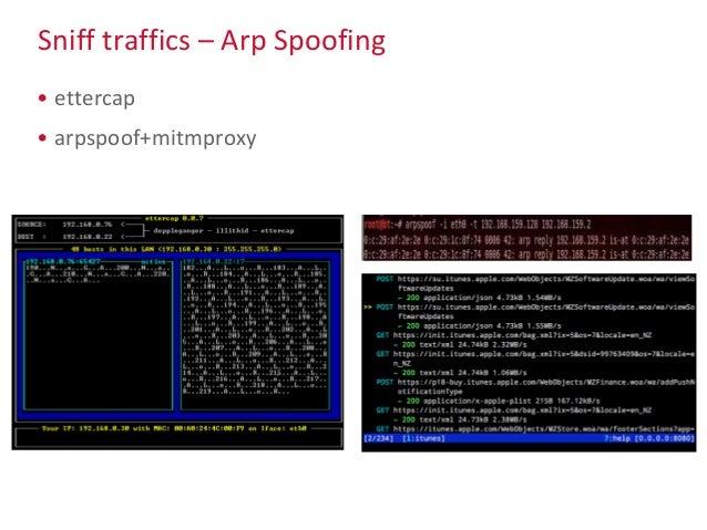 Sniff traffics – Arp Spoofing • ettercap • arpspoof+mitmproxy