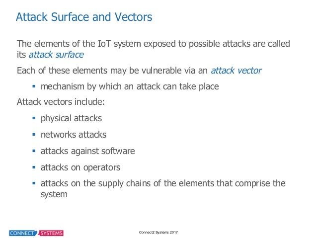 Connect2 Systems 2017 Attack Surface and Vectors The elements of the IoT system exposed to possible attacks ...