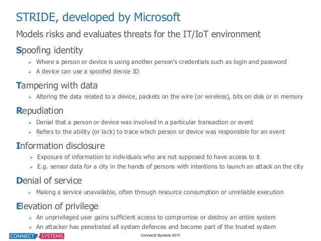Connect2 Systems 2017 STRIDE, developed by Microsoft Models risks and evaluates threats for the IT/IoT enviro...