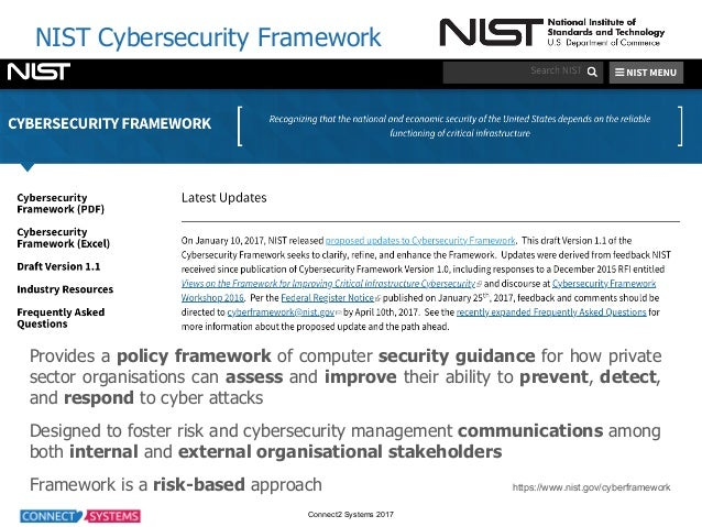 Connect2 Systems 2017 NIST Cybersecurity Framework Provides a policy framework of computer security guidance for how p...