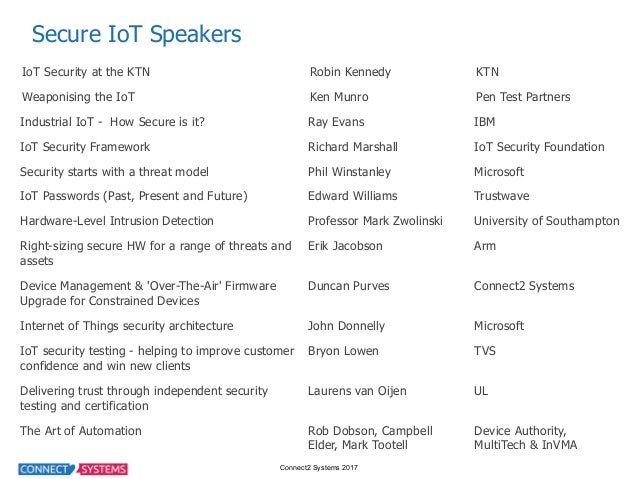 Connect2 Systems 2017 Secure IoT Speakers IoT Security at the KTN Robin Kennedy KTN Weaponising the IoT Ken Mu...