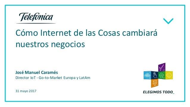 Cómo Internet de las Cosas cambiará nuestros negocios 31 mayo 2017 José Manuel Caramés Director IoT - Go-to-Market Europa ...
