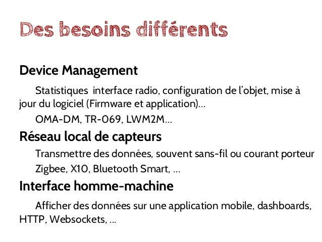 Des besoins différents Device Management Statistiques interface radio, configuration de l'objet, mise à jour du logiciel (...