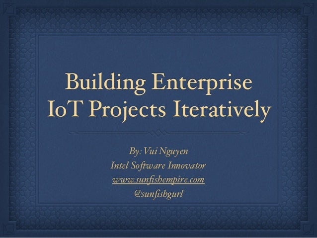 Building Enterprise IoT Projects Iteratively By: Vui Nguyen Intel Software Innovator www.sunfishempire.com @sunfishgurl