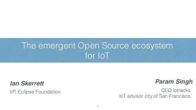 The emergent Open Source ecosystem for IoT 1 Param SinghIan Skerrett VP, Eclipse Foundation CEO Iotracks IoT advisor city ...