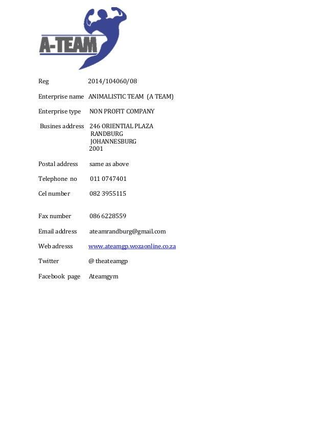 Reg 2014 104060 08 Enterprise Name ANIMALISTIC TEAM A Type Sponsorship Proposal Letter