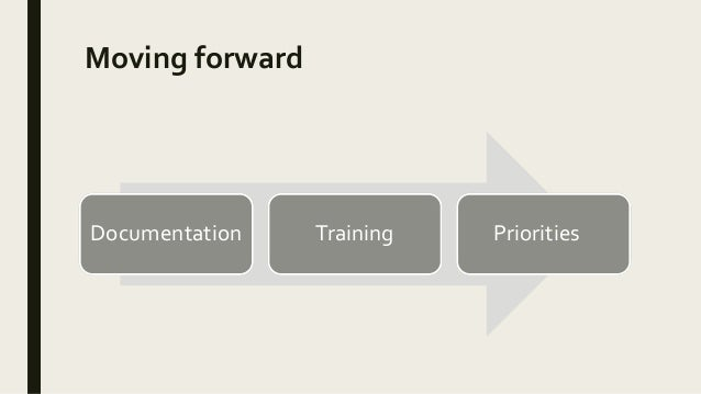 Moving forward Documentation Training Priorities
