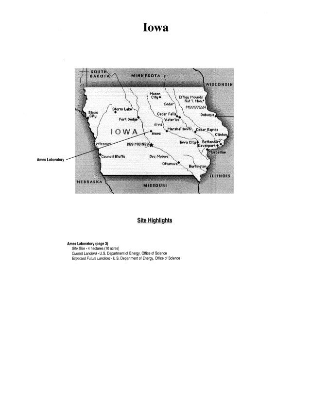 Ames Laboratory Iowa Site Highlights Ames Laboratory (page 3) Site Size •4hectares (1 0acres) Current Landlord· U.S. Depar...