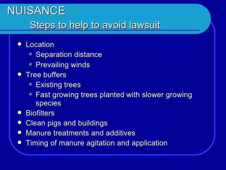 "environmental nuisance lawsuit Preview page chapter five environmental nuisance laws i introduction black's law dictionary defines ""nuisance"" as ""[a] condition or situation."