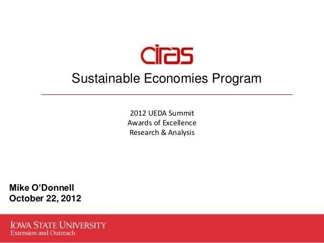 Sustainable Economies Program                      2012 UEDA Summit                     Awards of Excellence              ...