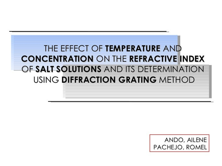 THE EFFECT OF  TEMPERATURE  AND  CONCENTRATION  ON THE  REFRACTIVE INDEX  OF  SALT SOLUTIONS  AND ITS DETERMINATION  USING...