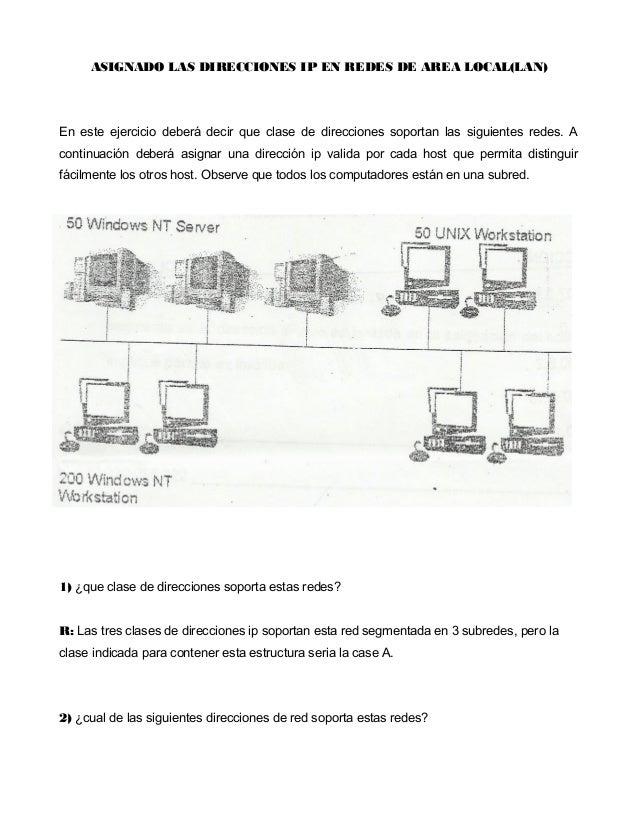ASIGNADO LAS DIRECCIONES IP EN REDES DE AREA LOCAL(LAN)En este ejercicio deberá decir que clase de direcciones soportan la...