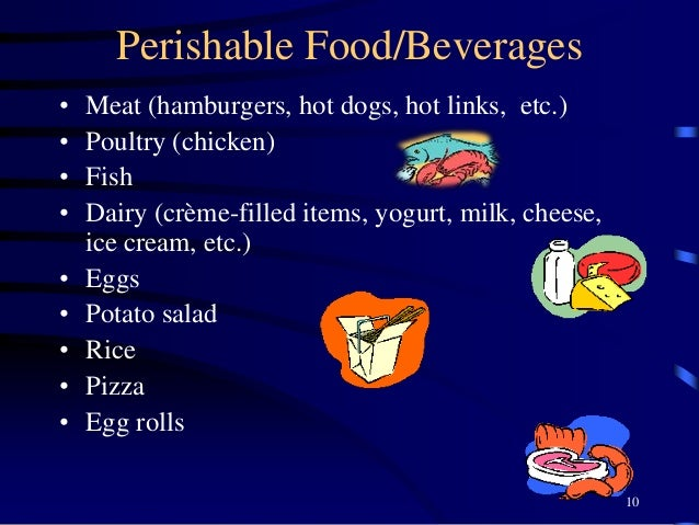 Perishable Food/Beverages • Meat (hamburgers, hot dogs, hot links, etc.) • Poultry (chicken) • Fish • Dairy (crème-filled ...