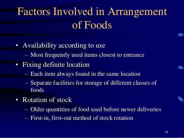 Factors Involved in Arrangement of Foods • Availability according to use – Most frequently used items closest to entrance ...