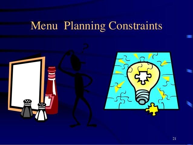 Menu Planning Constraints 21